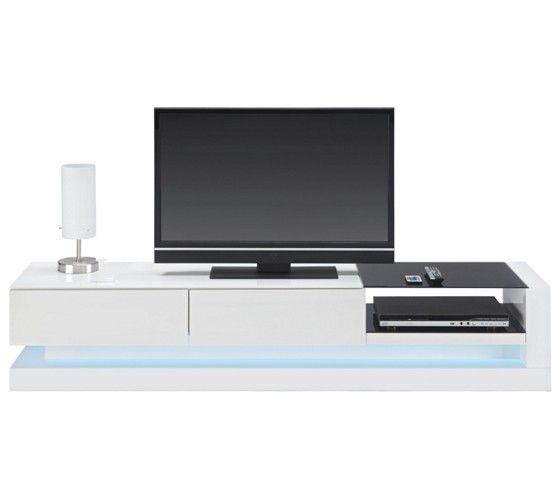 Phonoregal in zeitlos elegantem Weiß mit Schwarzglas und LED-Beleuchtung!