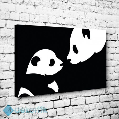 Black White Panda Tablo Kanvas Tablo Siyah Beyaz Tablolar