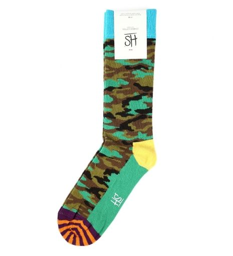 Camo Socks by Happy Socks $15   Imbue an everyday essential with a splash of wit. Swedish brand Happy Socks designs amusing and cosy foot warmers to brighten up the most lacklustre looks. Crafted from superior materials, the toe and heel are reinforced to ensure longevity, while the clever motifs add vivacity. Lend military prowess to denim with this colourful camo pair.   GOTSTYLE.ca