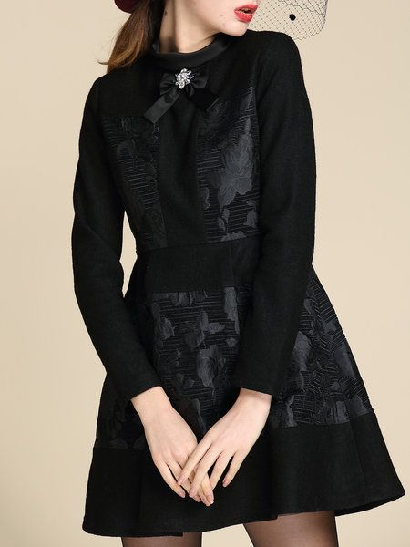 Black Paneled Long Sleeve Jacquard Mini Dress:
