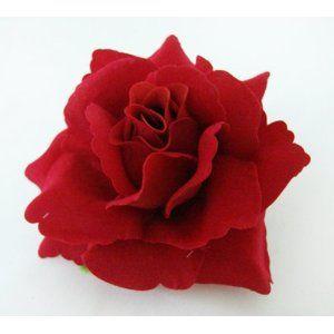 Red Velvet Rose Flower Hair Clip 3.75 Inch. Bridal Wedding