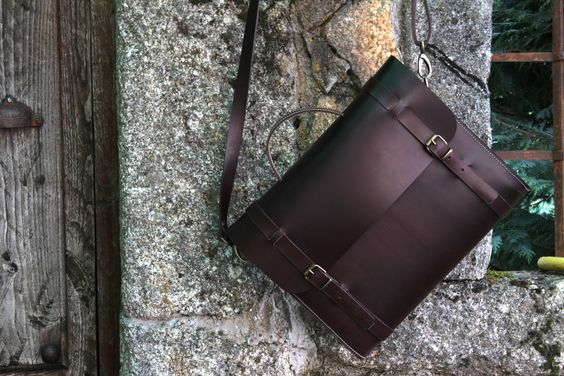 Briefcase-leather Bag - Creations by Ludena in Spain - business bag - ipad bag - handmade briefcase - Leather Shoulder Bag Nature.