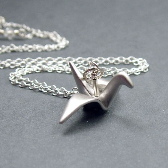 Origami Crane Necklace Sterling Silver Rolo Chain, Silver Bird Necklace, Good Luck. $26.00, via Etsy.