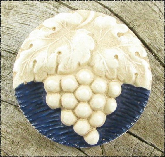 Vintage Celluloid or Plastic Button - Painted & Buffed Grapes