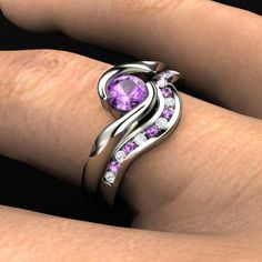 Purple Amethyst & Diamond Silver Wedding Ring Set!