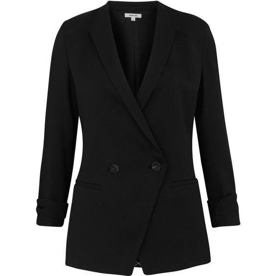 Helmut Lang Black Wool Smoking Blazer ($700) ❤ liked on Polyvore featuring outerwear, jackets, blazers, coats, coats & jackets, double breasted jacket, black wool jacket, wool jacket, wool blazer and slim fit jacket