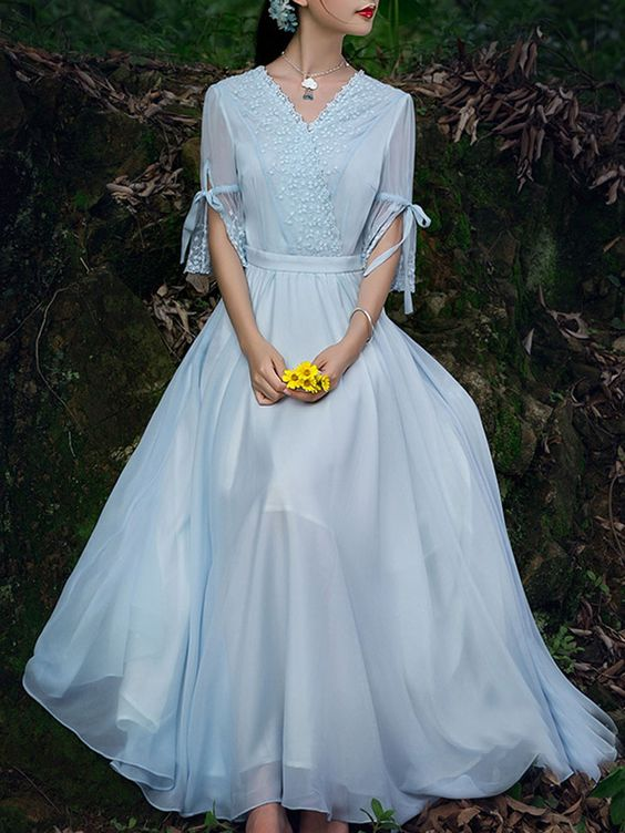 Light Blue Tie Flare Sleeve Lace Detail V-neck Maxi Dress | Choies