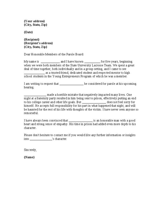 Character Reference Letter Parole Board Samples Png 728 942