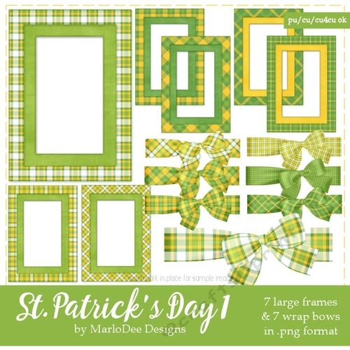 St Patricks Day Colors 1 Frames Bow Graphics Set 2 By Marlo Socolov Pu S4h S4o Cu Uses Allowed You Will Receive 7 Large V Frame Digital Design Graphic