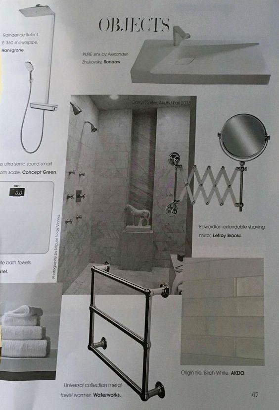 Raindance select E360 showerpipe, PURE sink, Edwardian extendable shaving mirror, Towel warmer, Birch White Orgin tile