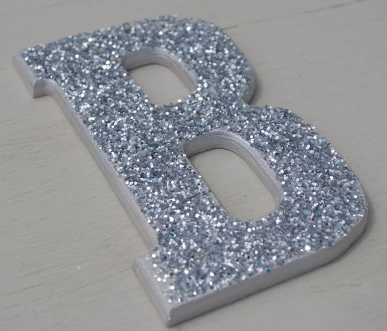Silver Letters Wall Decor : Decorative silver glitter wall letters girls bedroom