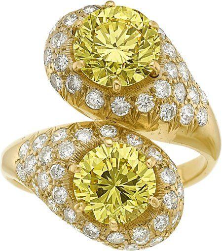 58402: Fancy Intense Yellow Diamond, Diamond, Gold Ring : Lot 58402