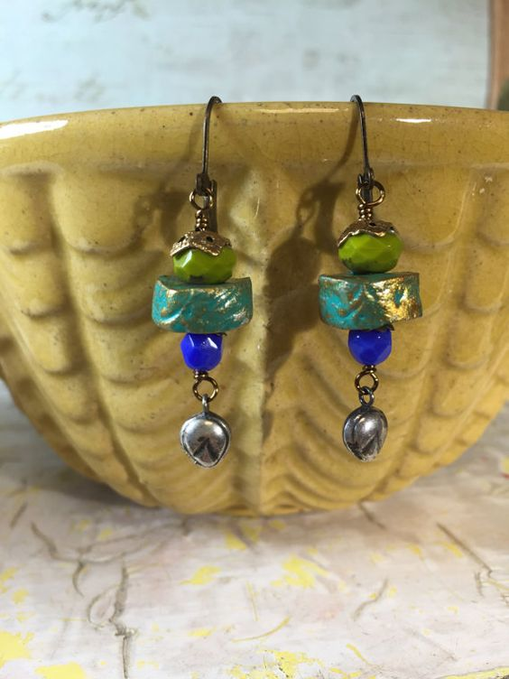 Handmade Clay Beads, Czech Glass, Sterling Silver Drop Earrings - Tilliegirlstudio