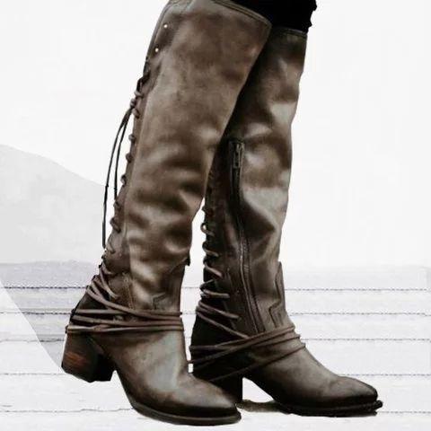 women's vintage lace up boots european