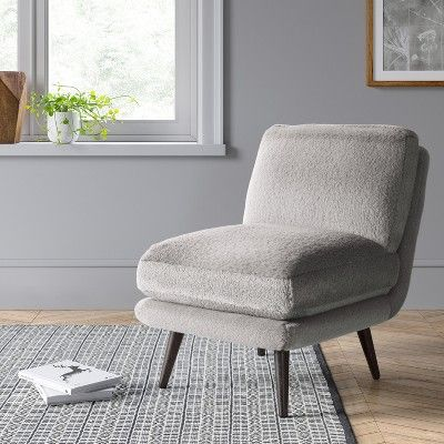 Incredible Harper Faux Fur Slipper Chair Gray Project 62 World Uwap Interior Chair Design Uwaporg