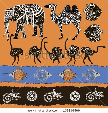 Ethnic animas set. Vector illustration. - stock vector
