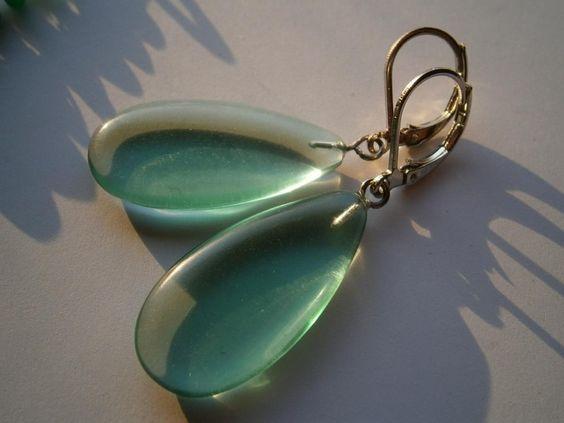 Ohrringe,Fluorit,grün,Naturschmuck,Tropfenohrringe von kunstpause auf DaWanda.com
