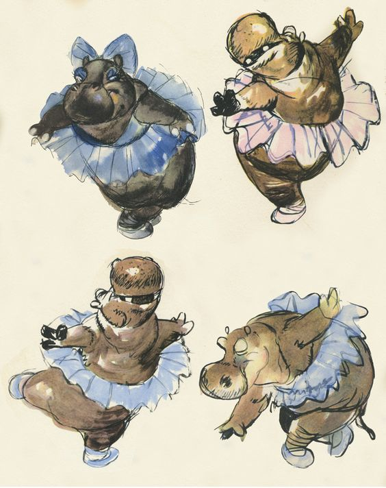 Concept sketches for 'Dance of the Hours' sequence in 'Fantasia'   Michael Sporn Animation - Splog » Fantasia sketches