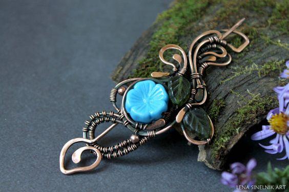 Wire Brooch , Flowers brooch, copper brooch, Wire jewelry, blue brooch, brooch for jerseys
