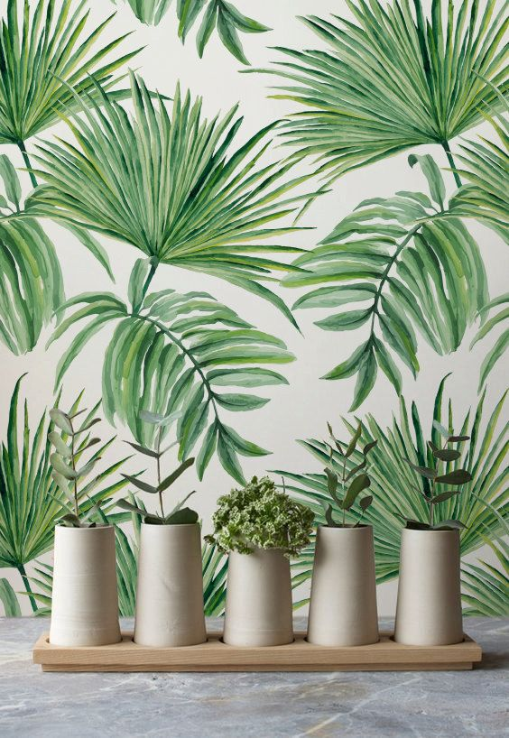 Exotic Leaves Hand Drawn Pattern Removable Wallpaper, Exotic Wallpaper, Green Leaves Temporary Wallpaper, 272: