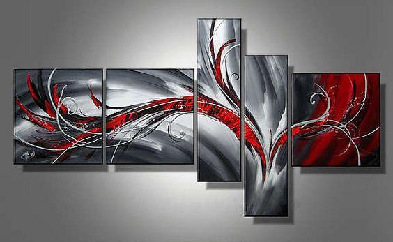 Moderne kunst maleri på 5 lerret. over 150 forskjellige malerier ...