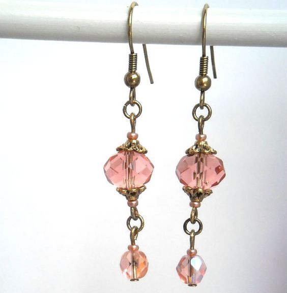 Boho romantic earrings peach pink hand made by kalaniparis