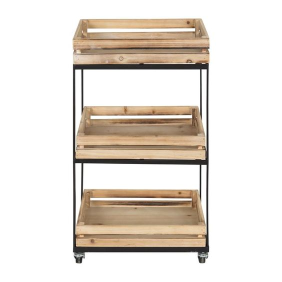 Usman 3 Tiered Storage Cart With Wheels Wood Crate Shelves Crate Shelves Wooden Crate Shelves