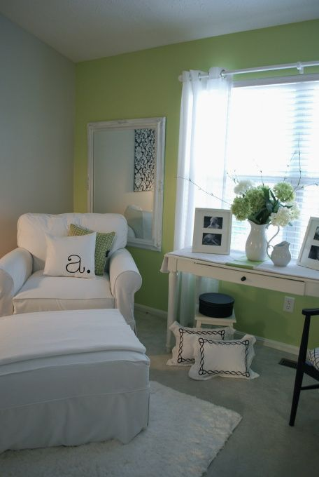 """My new chair arrived to compliment my """"TRASH to TREASURE"""" chairs.  Mirror in background bought at garage sale - painted it white - Perfect for the room. For those of you wondering, the paint color is PARADISE VALLEY by Valspar Signature colors (LOWES. Chair is from ARHAUS - slipcover can just pull off and throw in the wash!"""