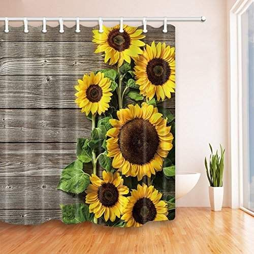 Nymb Plants Theme Sunflower On The Wooden Shower Curtain In Bath