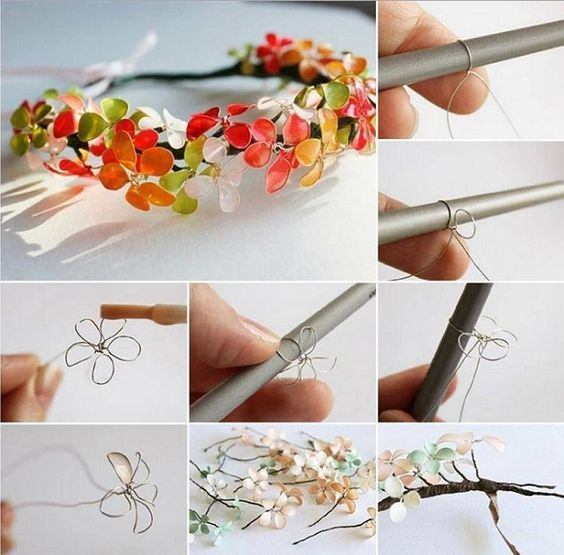 Flores con alambre y esmalte de uñas | Aprender manualidades es facilisimo.com