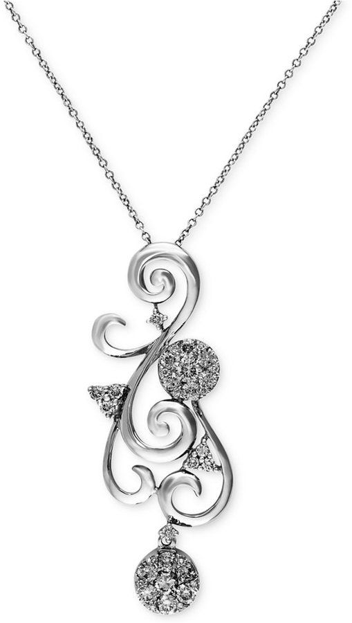 Bouquet by EFFY Diamond Scroll Pendant Necklace (5/8 ct. t.w.) in 14k White Gold on shopstyle.com