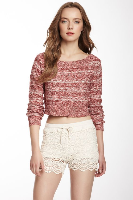 Crop Long Sleeve Top & Lace Shorts