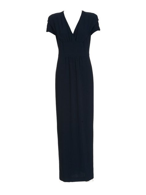 Long black gown with front placket