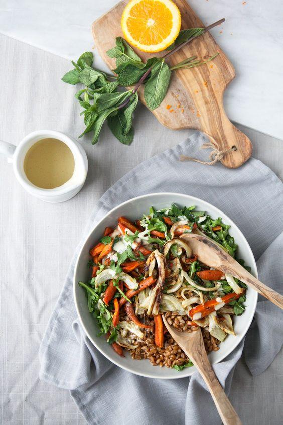 Roasted Fennel & Carrot Salad w/ Mint + Orange Tahini Dressing
