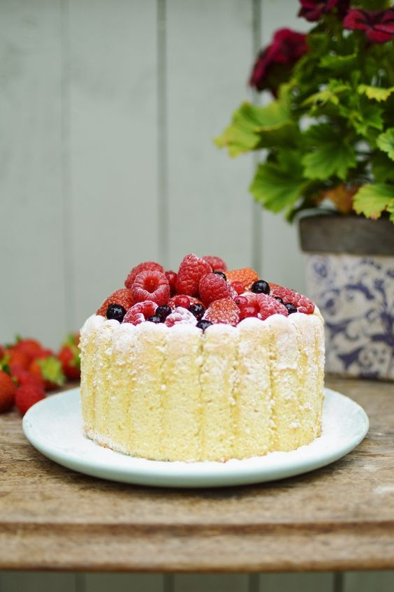 A beautiful and light summer dessert - mixed summer berry charlotte russe