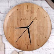 Personalizowany zegar bambusowy WSPÓLNY DZIEŃ idealny na urodziny