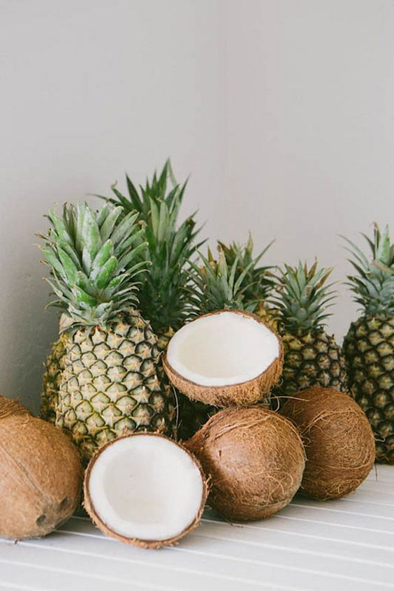 pineapples and coconuts: