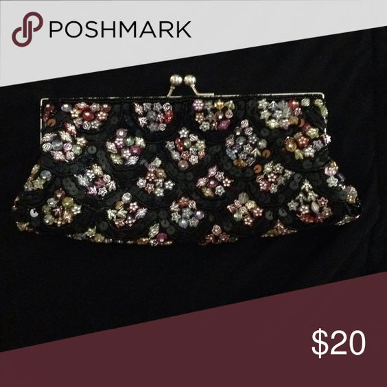 Black Beaded Clutch Very vintage styled! Looks great with a LBD  Bags Clutches & Wristlets