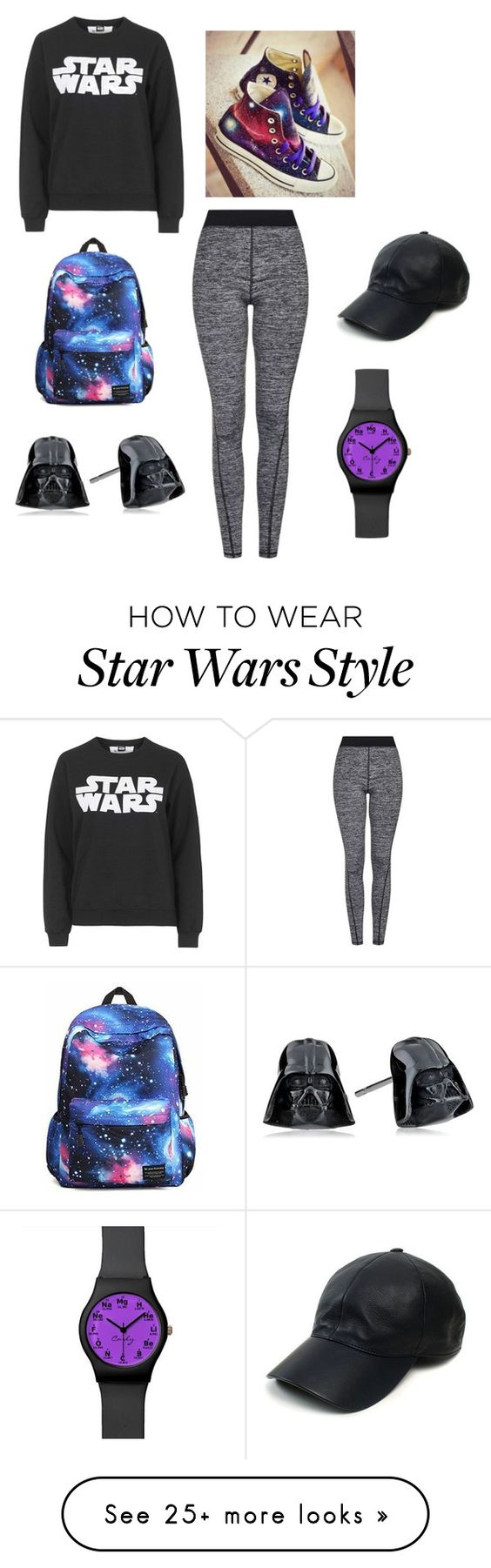 """Star Wars 2"" by leti-barnes on Polyvore featuring Topshop, Tee and Cake, Converse and Vianel"