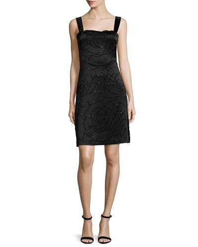 DIANE VON FURSTENBERG Diane Von Furstenberg Lovelle Floral-Embroidered Sheath Dress, Black. #dianevonfurstenberg #cloth #