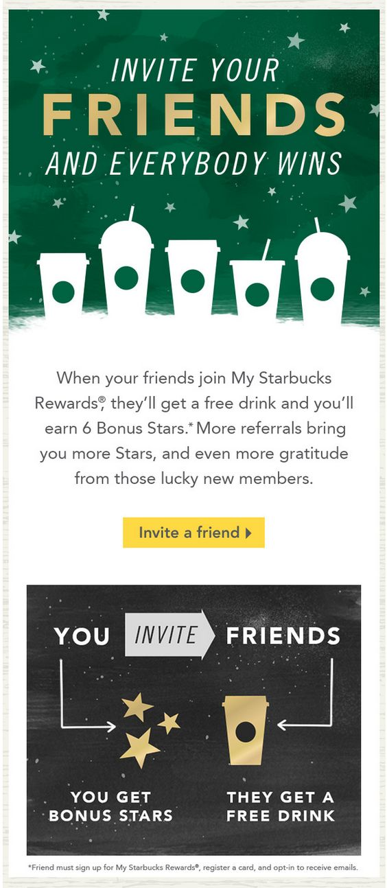 Starbucks friends and starbucks coffee on pinterest for Refer a friend email template