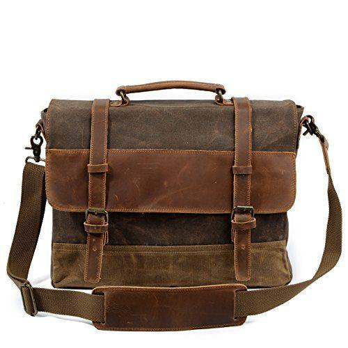 AIYAMAYA Simple Retro Briefcase Zippered Crossbody Bag Shoulder Bag Color : Brown