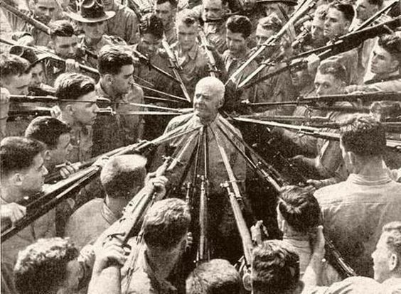 Col. Anthony Joseph Drexel Biddle, hand-to-hand combat expert, 1943. Known for ordering trainee Marines to attempt to kill him with bayonets, and disarming them all.:
