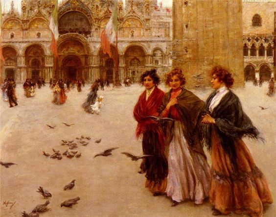 """Vincenzo Migliaro, """" La passeggiata pomeridiana, San Marco """", Venezia, 1901. Olio su tela, 66x83 cm. Collezione privata"""