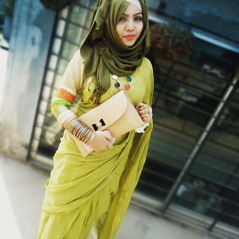 Green hijab for saree outfit