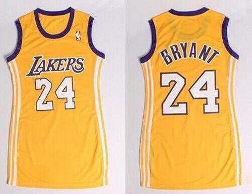 Lakers 24 Kobe Bryant Gold Dress Women S Stitched Jersey Nba Outfit Lakers Dress Jersey