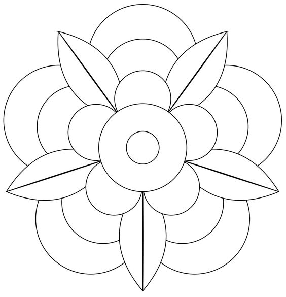 Coloring mandalas and flower on pinterest for Blank flower coloring pages