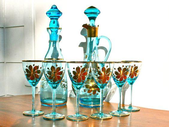 antique romanian blue glass decanter set with metallic. Black Bedroom Furniture Sets. Home Design Ideas