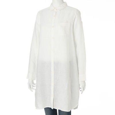 Color blanco. Talle M 38.  Si M parece grande igual está ok, se una túnica usa floja.   Women French Linen Shirt Dress