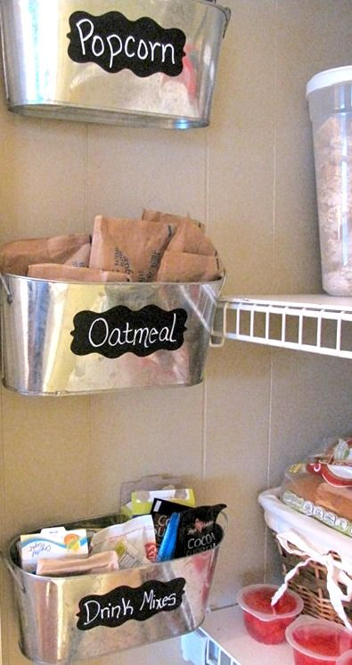 Basket for packet food, put below kitchen shelving on wall: